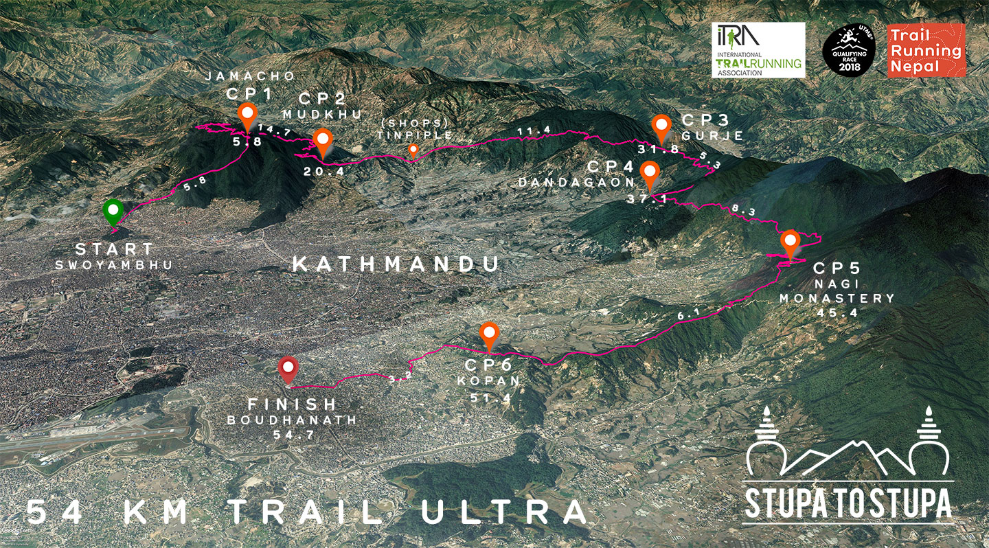Ultra trail race route map in asia